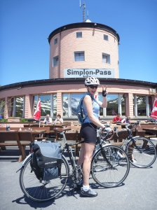 Louise at the top of the Simplon Pass