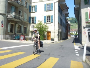 Cycling through Cully, Switzerland