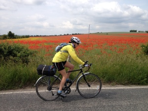Passing poppy fields in one of the Shires!