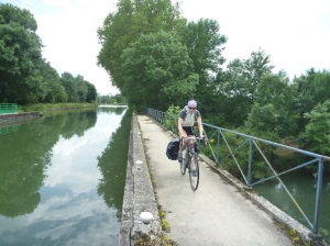 Louise riding the canals around Saint Dizier.