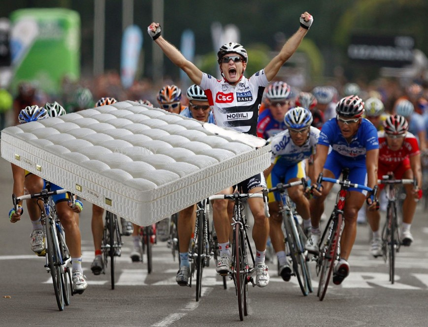 Flying Mattress hits Cyclist